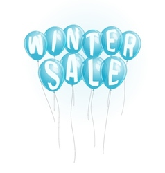 Winter sale advertisement with blue balloons vector