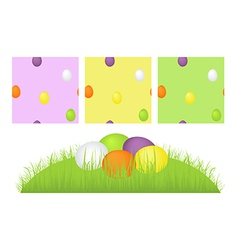 Grass easter eggs and pattern vector