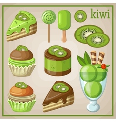 Set of sweets with kiwi vector image