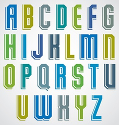 Geometric alphabet condensed font in retro poster vector