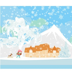 Winter in the village vector