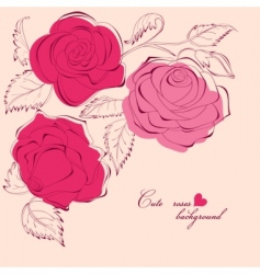 Cute roses background vector