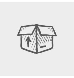 Open box with arrow loading incoming sketch icon vector