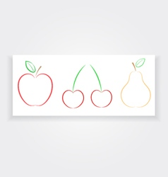 Apple pear cherry banner natural products vector