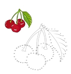 Educational game connect dots draw cherry vector image