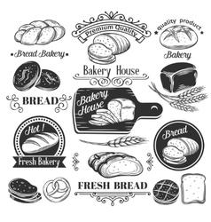 Decorative bread bakery label vector image