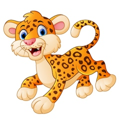 Cute cartoon leopard vector