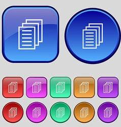 Copy file duplicate document icon sign a set of vector