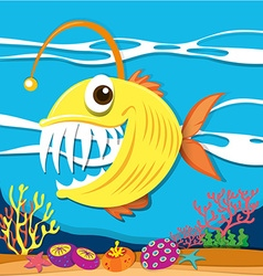 Fish with sharp teeth underwater vector