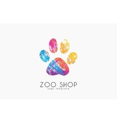 Paw print logo creative animal logo zoo logo vector