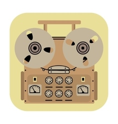 Reel tape recorder icon on yellow background vector