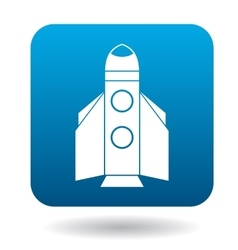 Space shuttle rocket launch icon flat style vector