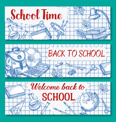 Back to school sketch stationery banner vector