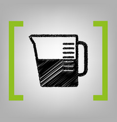Beaker sign black scribble icon in citron vector