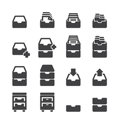 cabinet icon set vector image vector image