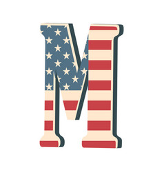 Capital 3d letter m with american flag texture vector