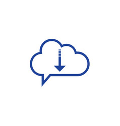 cloud download icon computing concept vector image vector image
