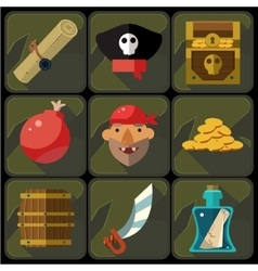 Color flat icons set and vector