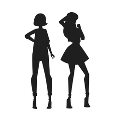 Concept of modern fashion girls silhouette and vector image