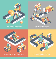 conveyor flat isometric poster set vector image