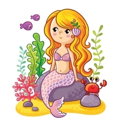 Cute cartoon mermaid sitting on a rock vector image