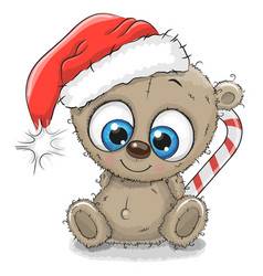 cute cartoon teddy bear in a santa hat vector image