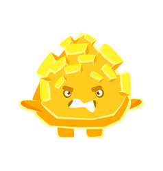 Cute yellow crystal stone with vexed face cartoon vector