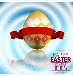 Easter yellow egg with red ribbon vector