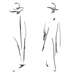 Fashion girls sketch vector