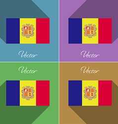 Flags Andorra Set of colors flat design and long vector image vector image