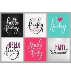 Friday weekend lettering postcard set vector