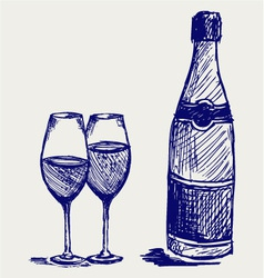 Glass of wine and a bottle vector image vector image