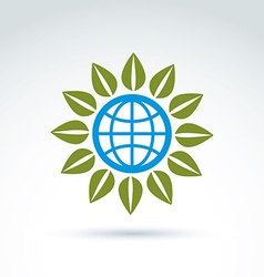 Globe with leaves growing icon ecological vector image vector image
