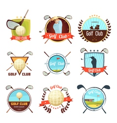 Golf clubs retro style labels set vector