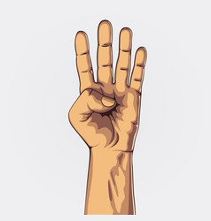 hand showing four count vector image vector image
