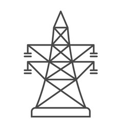 High-voltage power line linear icon vector