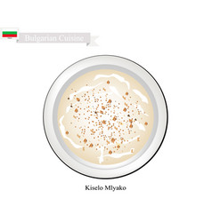 Kiselo mlyako or bulgarian fermented milk with sou vector