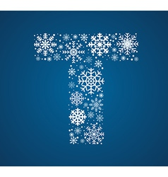 Letter t font frosty snowflakes vector