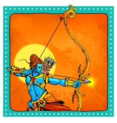 Lord rama with bow arrow killimg ravana vector