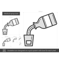 Medical syrup line icon vector