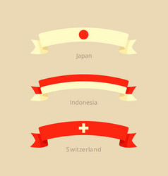 ribbon with flag of japan indonesia switzerland vector image vector image