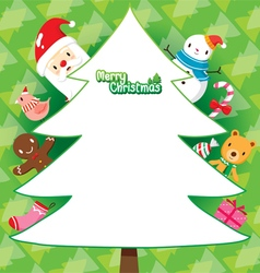Santa And Christmas Tree On Green Background vector image vector image