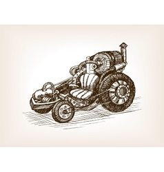 Steampunk transport vehicle sketch vector image