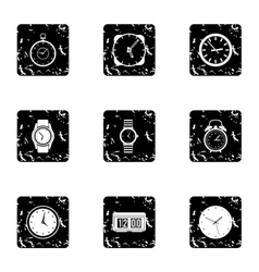 Watch icons set grunge style vector