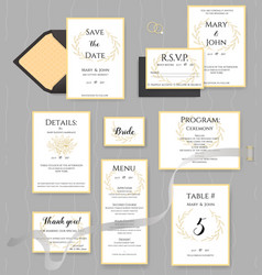 wedding stationery collection set of vector image vector image