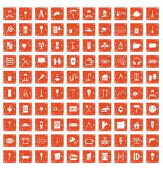 100 renovation icons set grunge orange vector