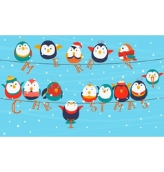 Christmas birds on wires merry christmas words on vector