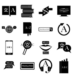 Translator profession icons set simple style vector