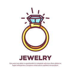 jewelry golden diamond wedding ring flat vector image