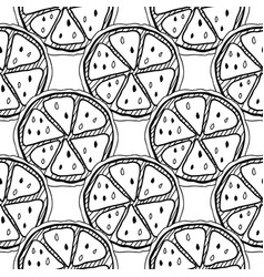 Black and white fruit seamless pattern with lemons vector